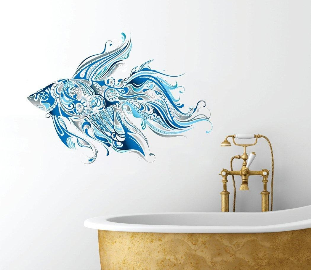 Ideas For Ocean Wall Decals | Inspiration Home Designs Pertaining To Fish Decals For Bathroom (View 16 of 20)