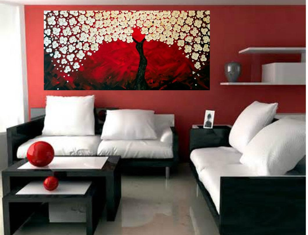 Impasto Acrylic Painting Palette Knife Brush Red And Mother Of inside Mother Of Pearl Wall Art