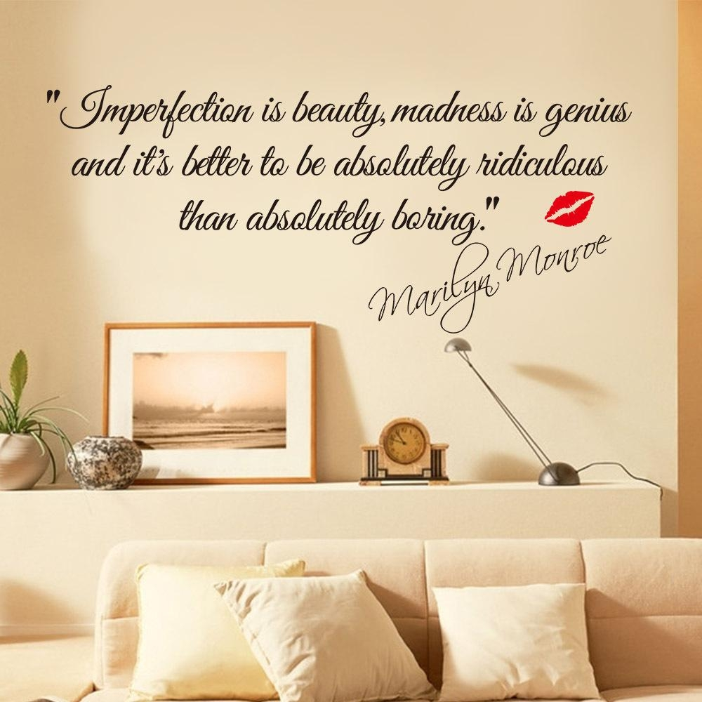 & Impersonation Is Beauty Quotes Marilyn Monroe Art Wall Stickers Pertaining To Marilyn Monroe Wall Art (View 12 of 20)