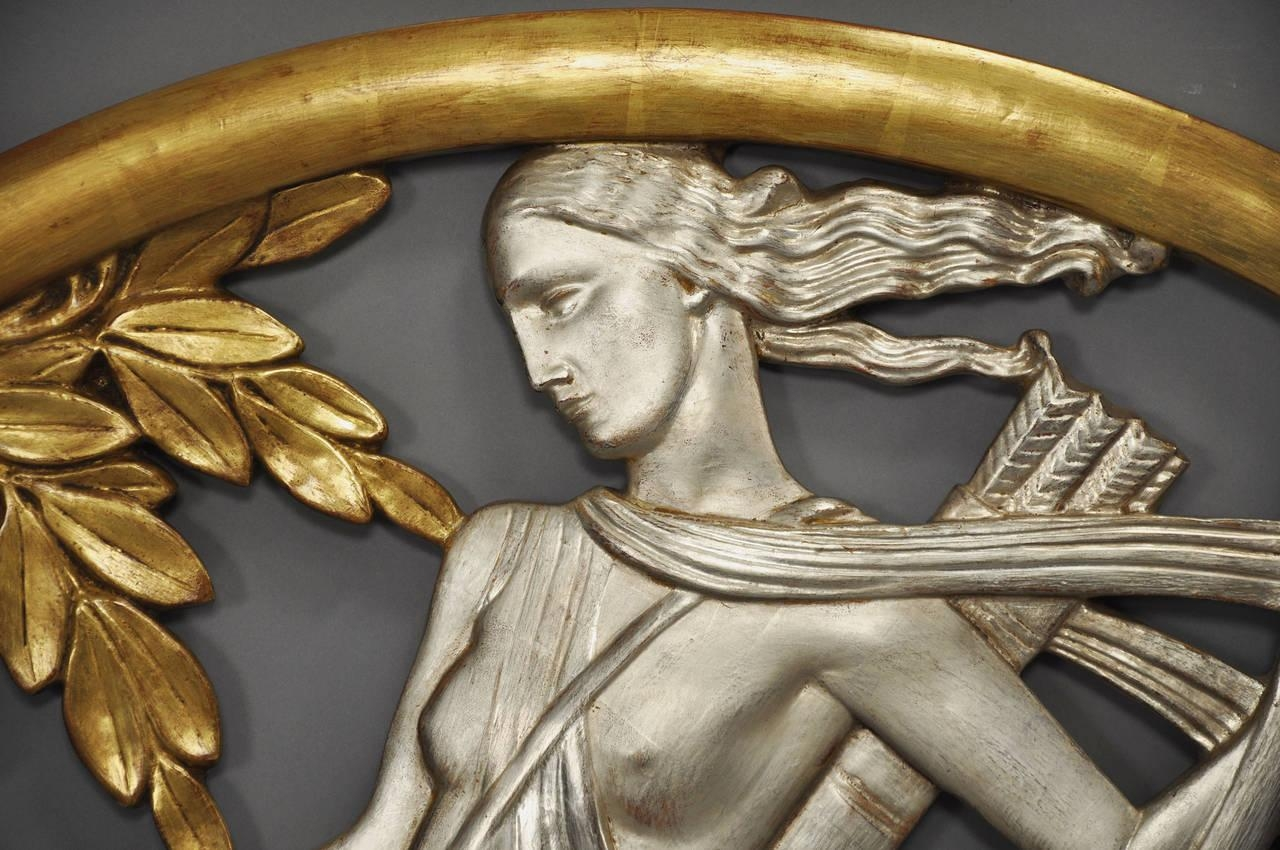 Important Art Deco Mythological Gilt Wall Plaque For Sale At 1Stdibs inside Art Deco Metal Wall Art