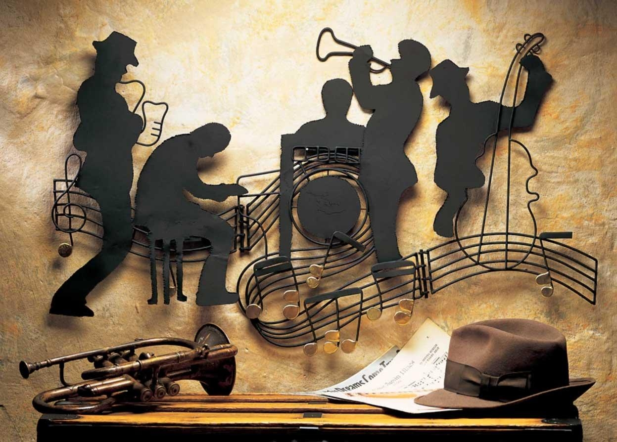 Impressive Jazzin' Quintet Music Themed Metal Wall Art Music Home In Metal Music Notes Wall Art (Image 4 of 20)