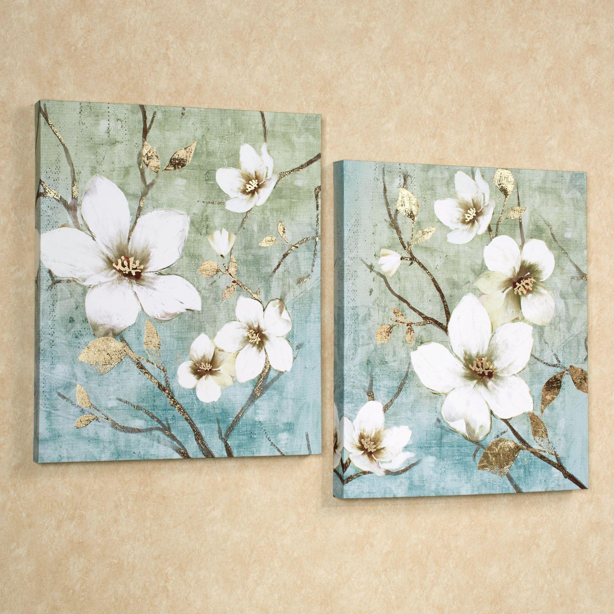 In Bloom Floral Canvas Wall Art Set inside Teal Flower Canvas Wall Art