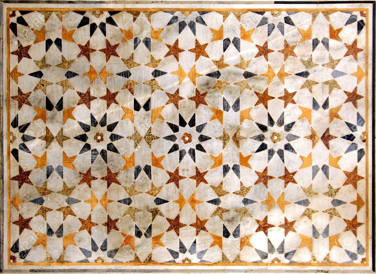 India, Agra: Taj Mahal; Wall Decoration; Geometrical Design For Pertaining To Taj Mahal Wall Art (Image 9 of 20)