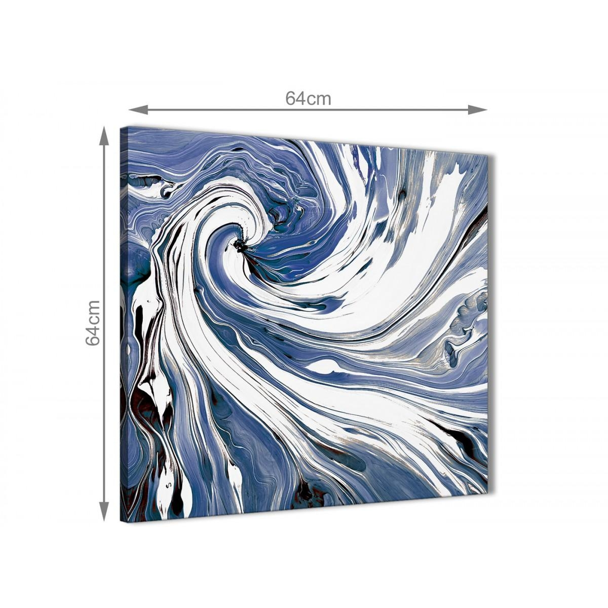 Indigo Blue White Swirls Modern Abstract Canvas Wall Art – 64Cm In Blue And White Wall Art (View 15 of 20)