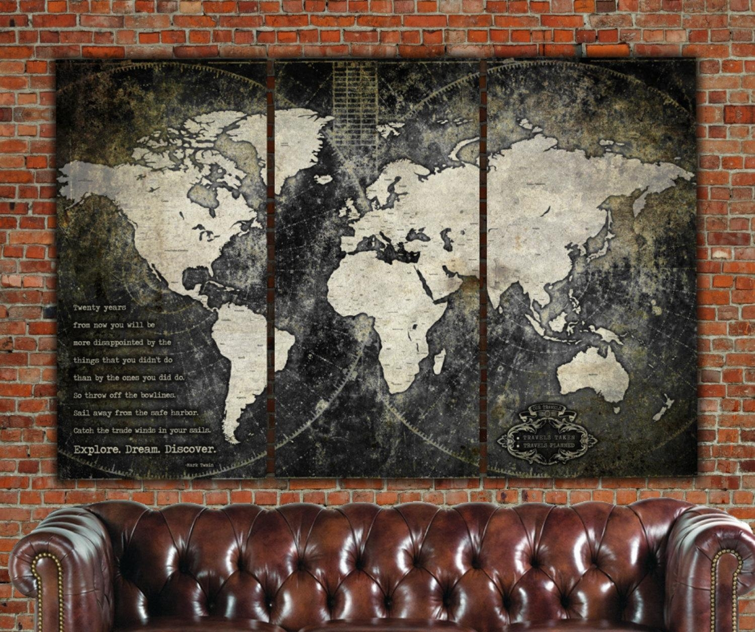 Industrial Push Pin Or Canvas World Map World Map Canvas pertaining to Large Vintage Wall Art