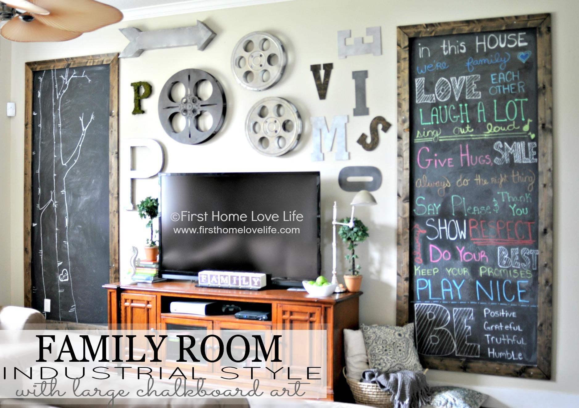 Industrial Style Family Room Gallery Wall With Chalkboard Art With Vintage Industrial Wall Art (View 2 of 20)