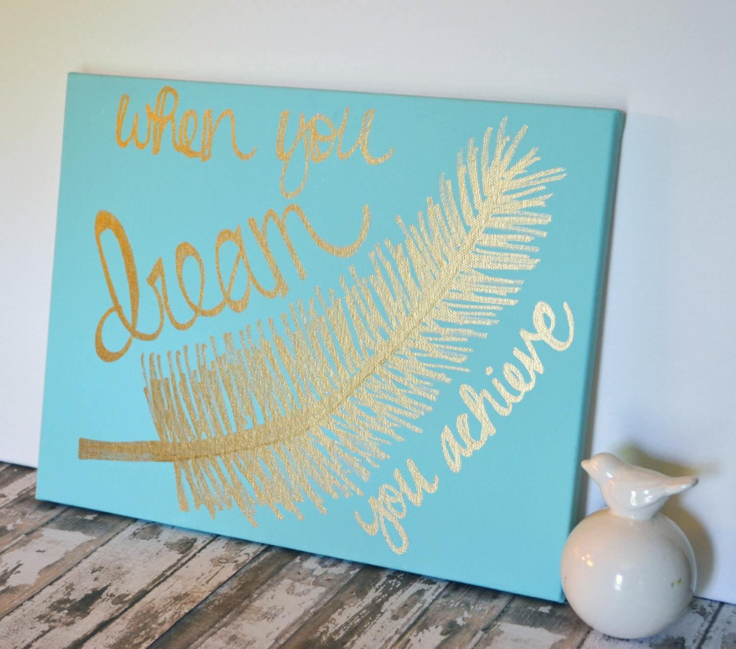 Inspirational Canvas Wall Art Painting Feather Gold Art Mint Throughout Inspirational Canvas Wall Art (Image 9 of 20)