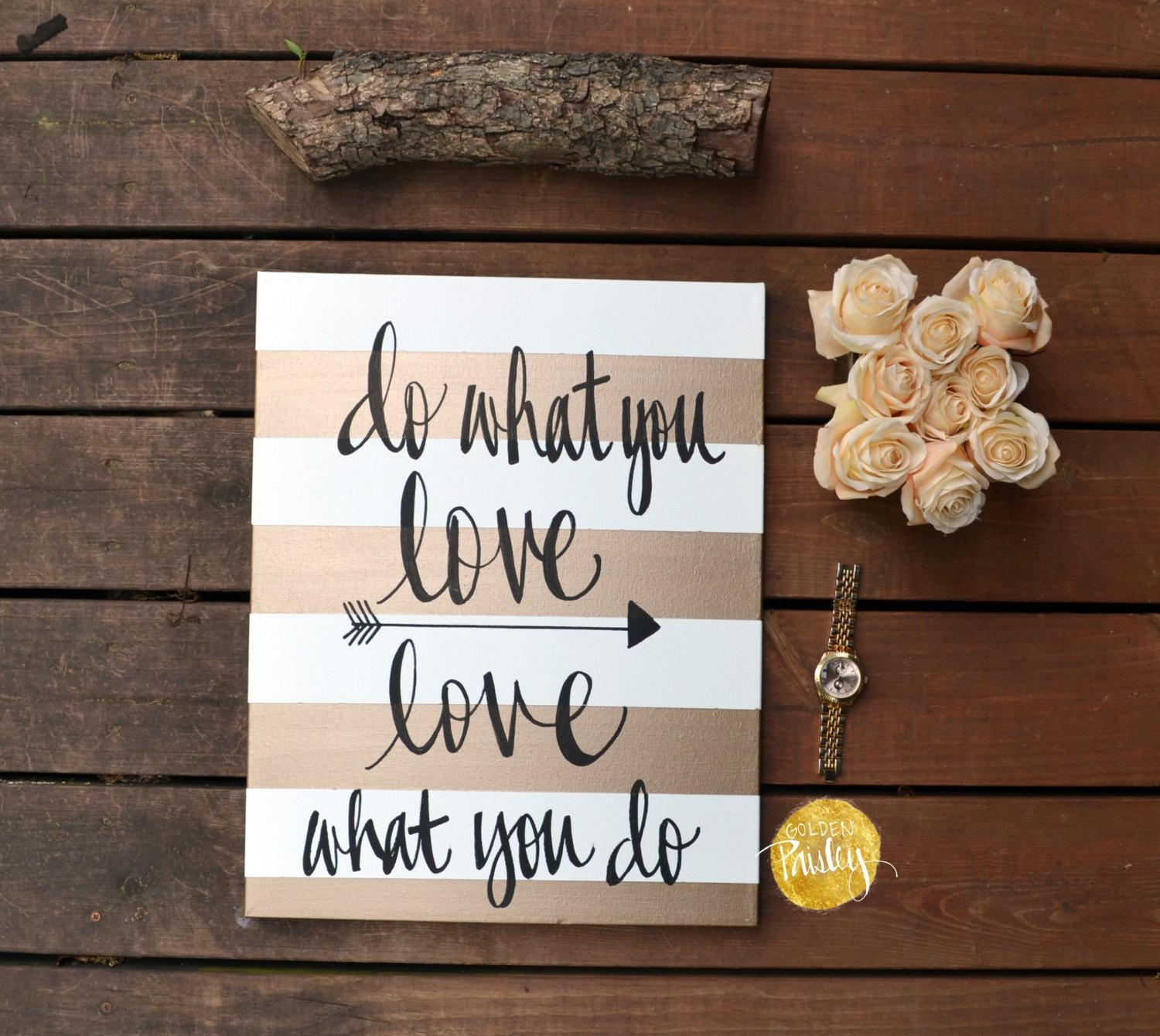 Inspirational Canvas Wall Art Painting Gold And White Stripe For Inspirational Canvas Wall Art (View 13 of 20)