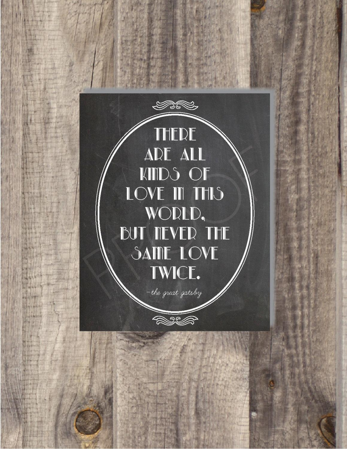 Instant Download The Great Gatsby Never The Same Love pertaining to Great Gatsby Wall Art