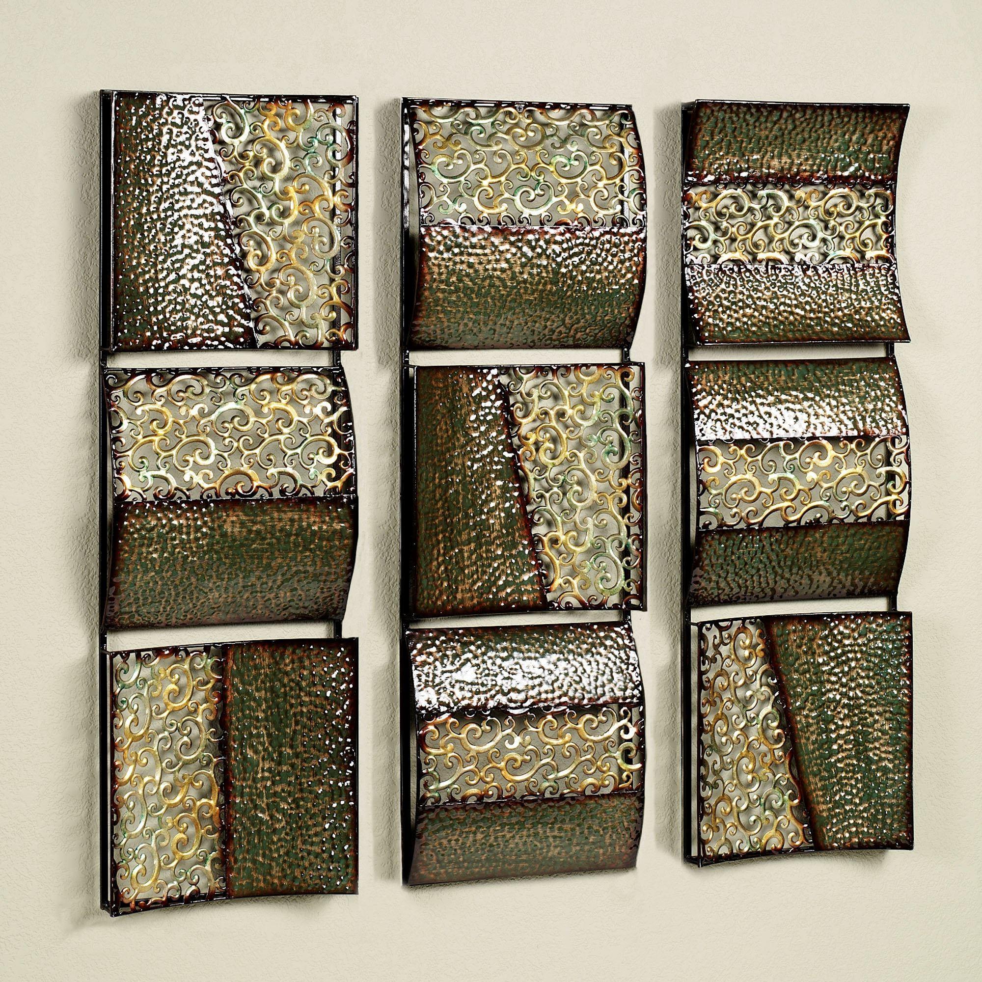 Intermission In Green Metal Wall Art Panel Set inside Metallic Wall Art