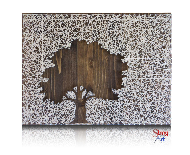 Inverse Oak Tree String Art Kit Tree String Art Diy Kit Throughout Oak Tree Metal Wall Art (View 18 of 20)