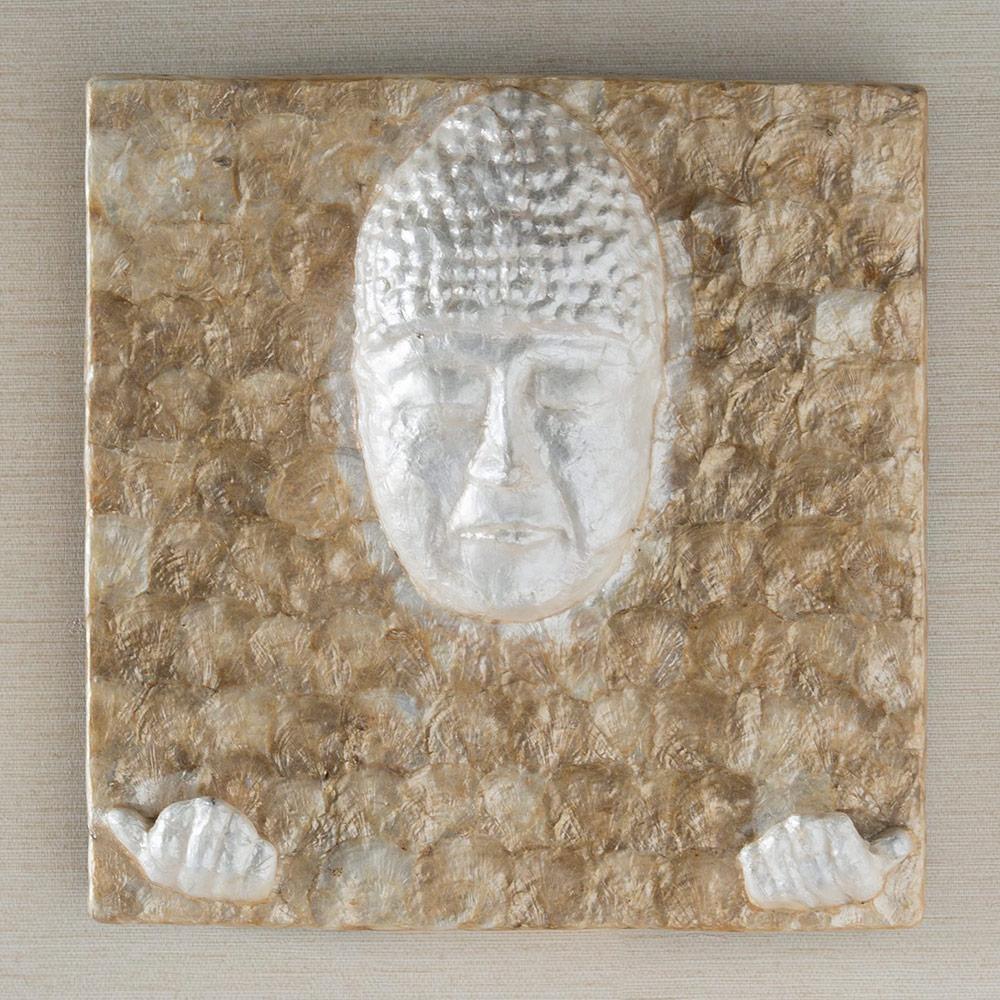 Iridescent Capiz Buddha Wall Art   Vivaterra With Regard To Capiz Shell Wall Art (Image 16 of 20)
