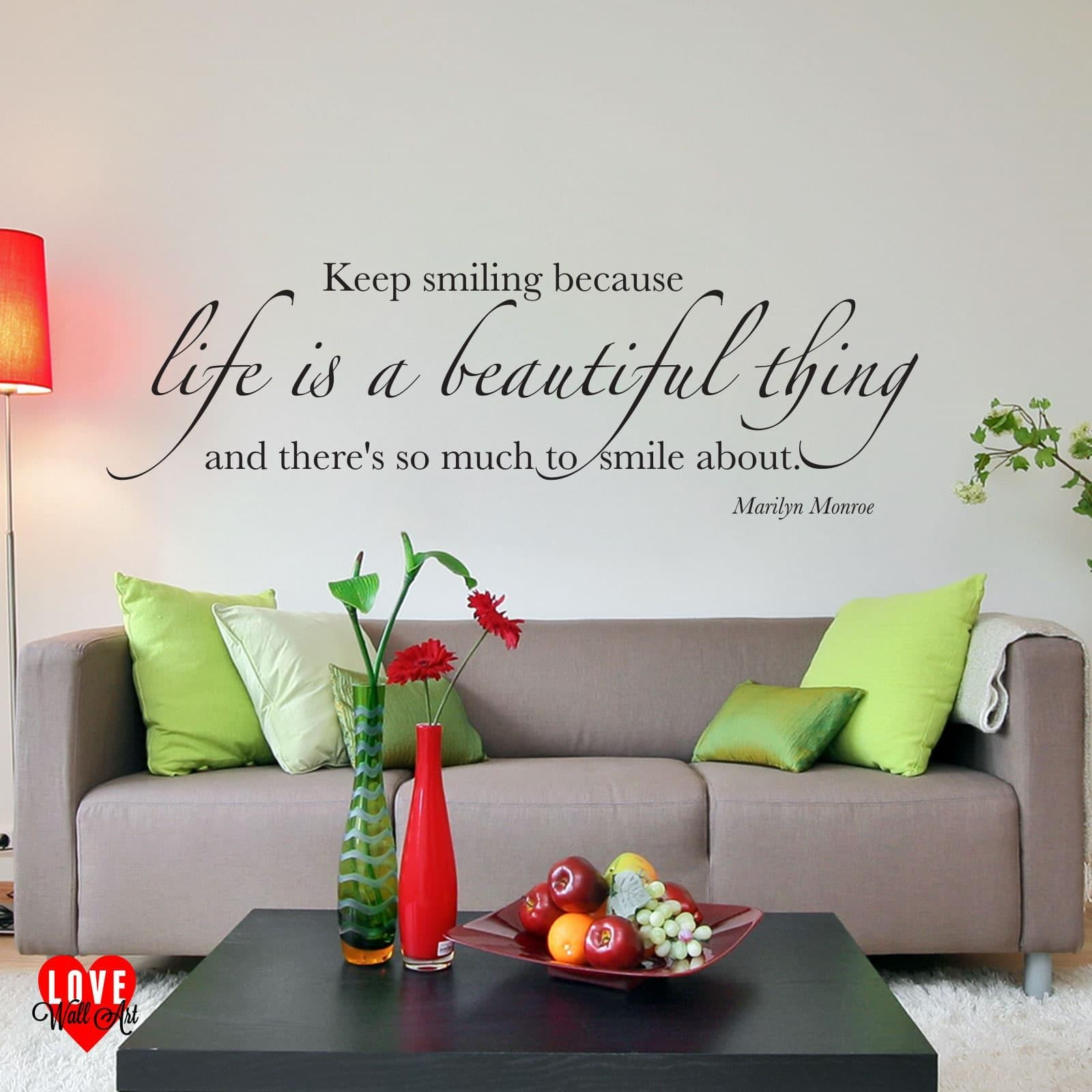 Is A Beautiful Thing Marilyn Monroe Quote Wall Art Sticker intended for Marilyn Monroe Wall Art Quotes