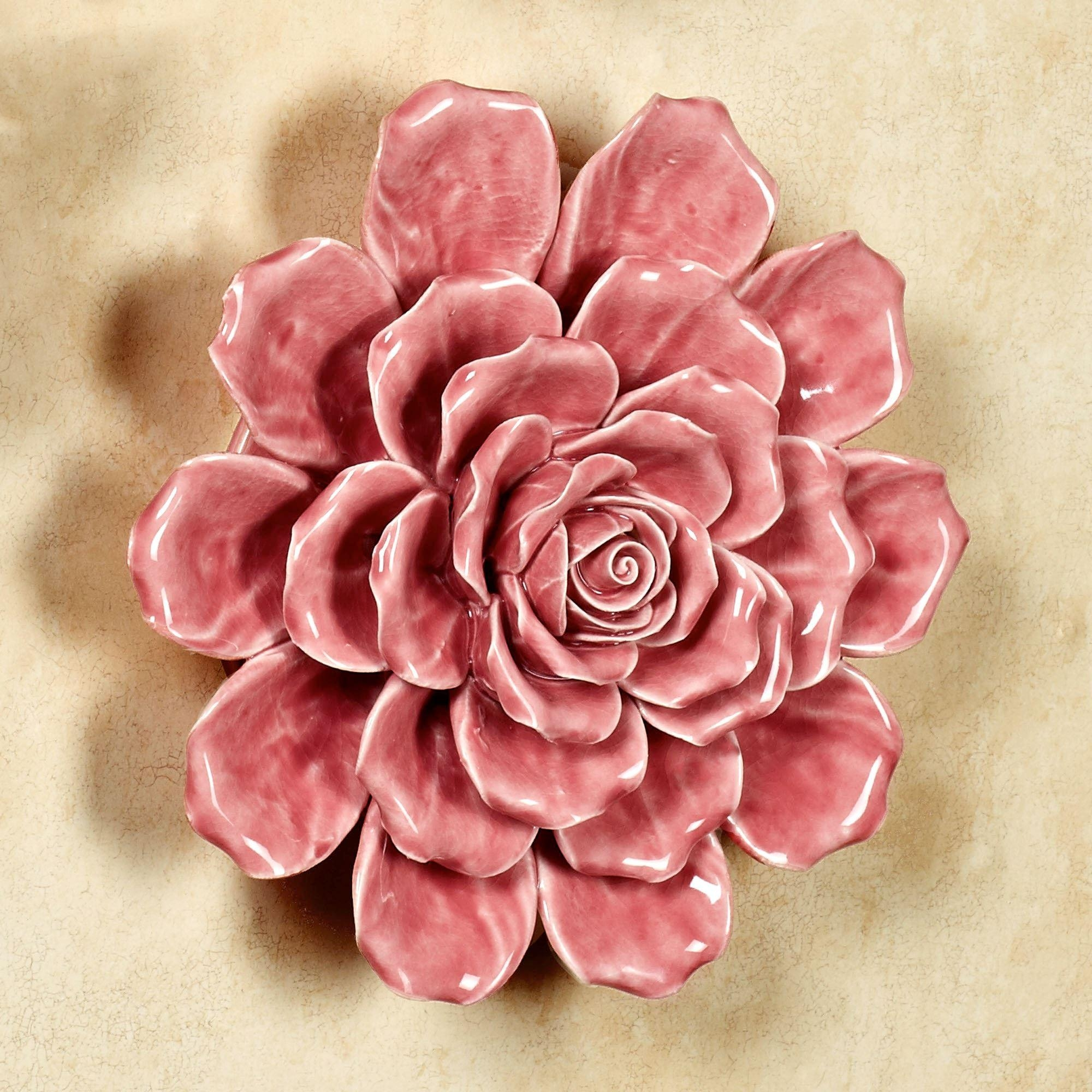 Isabella Ceramic Flower Blossom Wall Art Intended For Pink Flower Wall Art (Image 10 of 20)