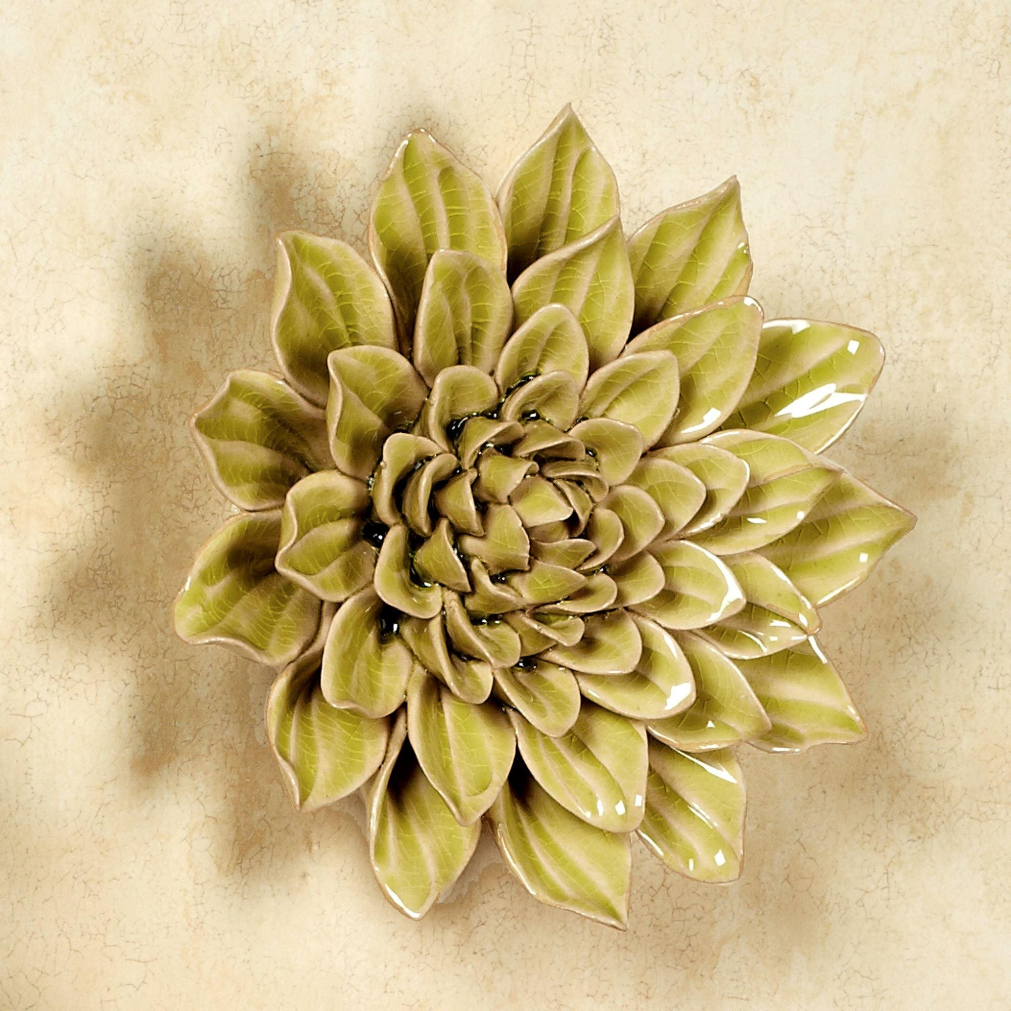 Isabella Ceramic Flower Blossom Wall Art Pertaining To Italian Ceramic Wall Art (Image 6 of 20)