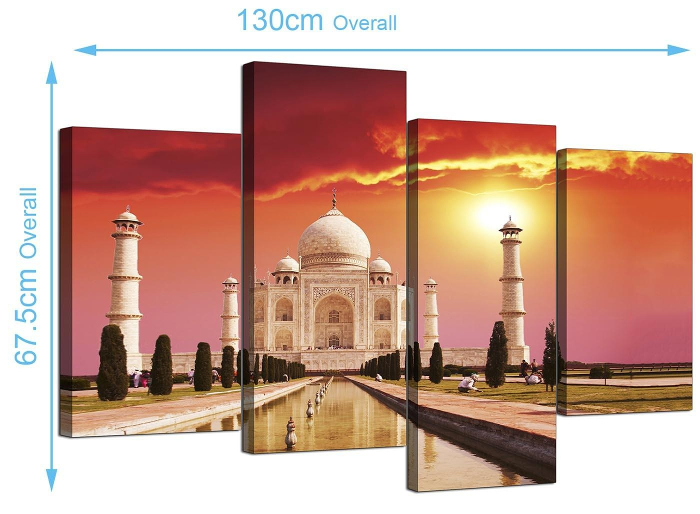 Islamic Canvas Pictures Of The Taj Mahal For Your Bedroom – 4 Panel With Taj Mahal Wall Art (Image 10 of 20)