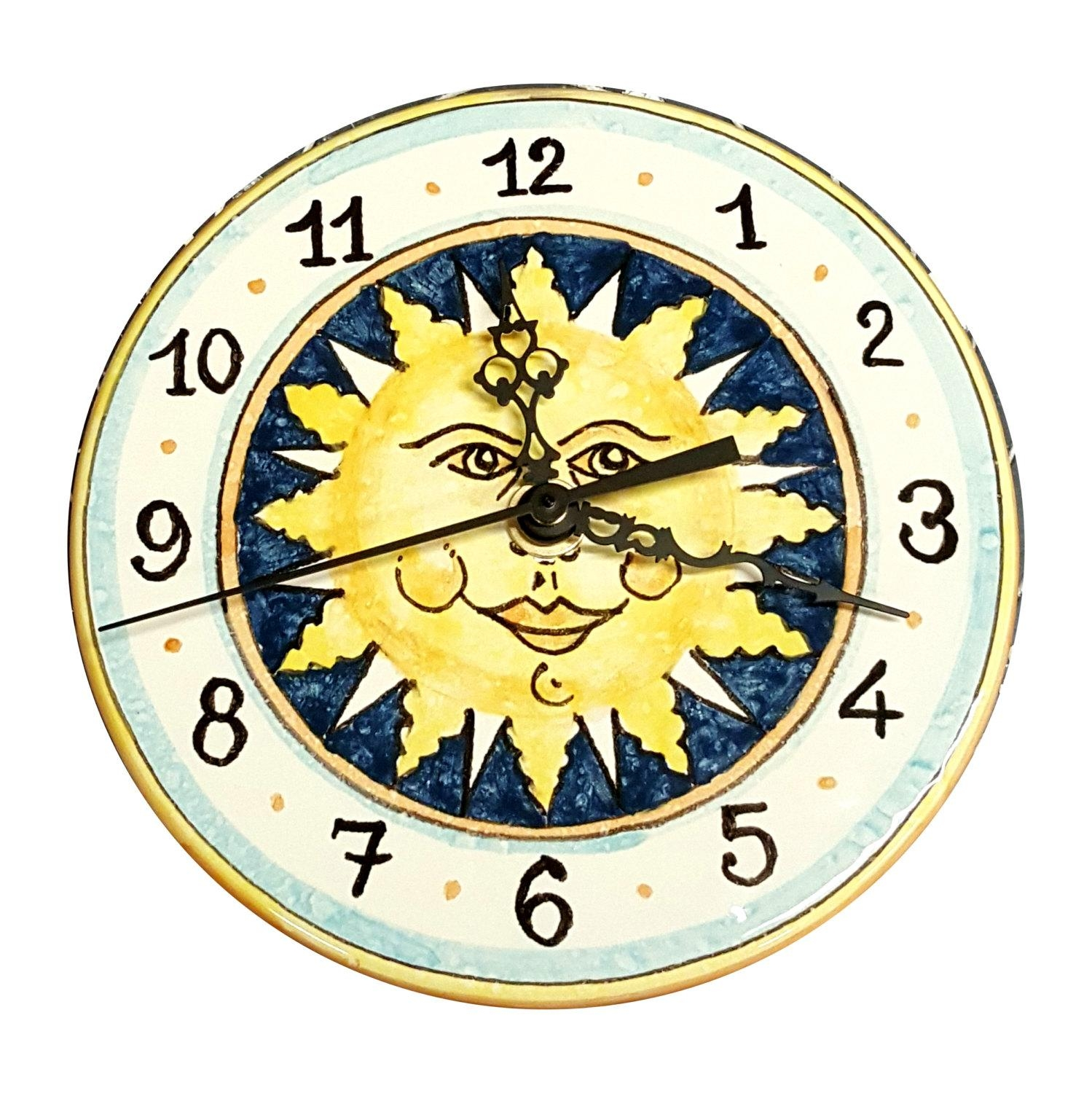 Italian Ceramic Wall Clock Decorated Sun Hand Painted Made In Pertaining To Italian Ceramic Wall Art (Photo 2 of 20)