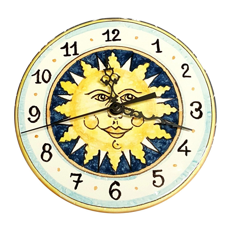 Italian Ceramic Wall Clock Decorated Sun Hand Painted Made In Pertaining To Italian Ceramic Wall Art (Image 9 of 20)