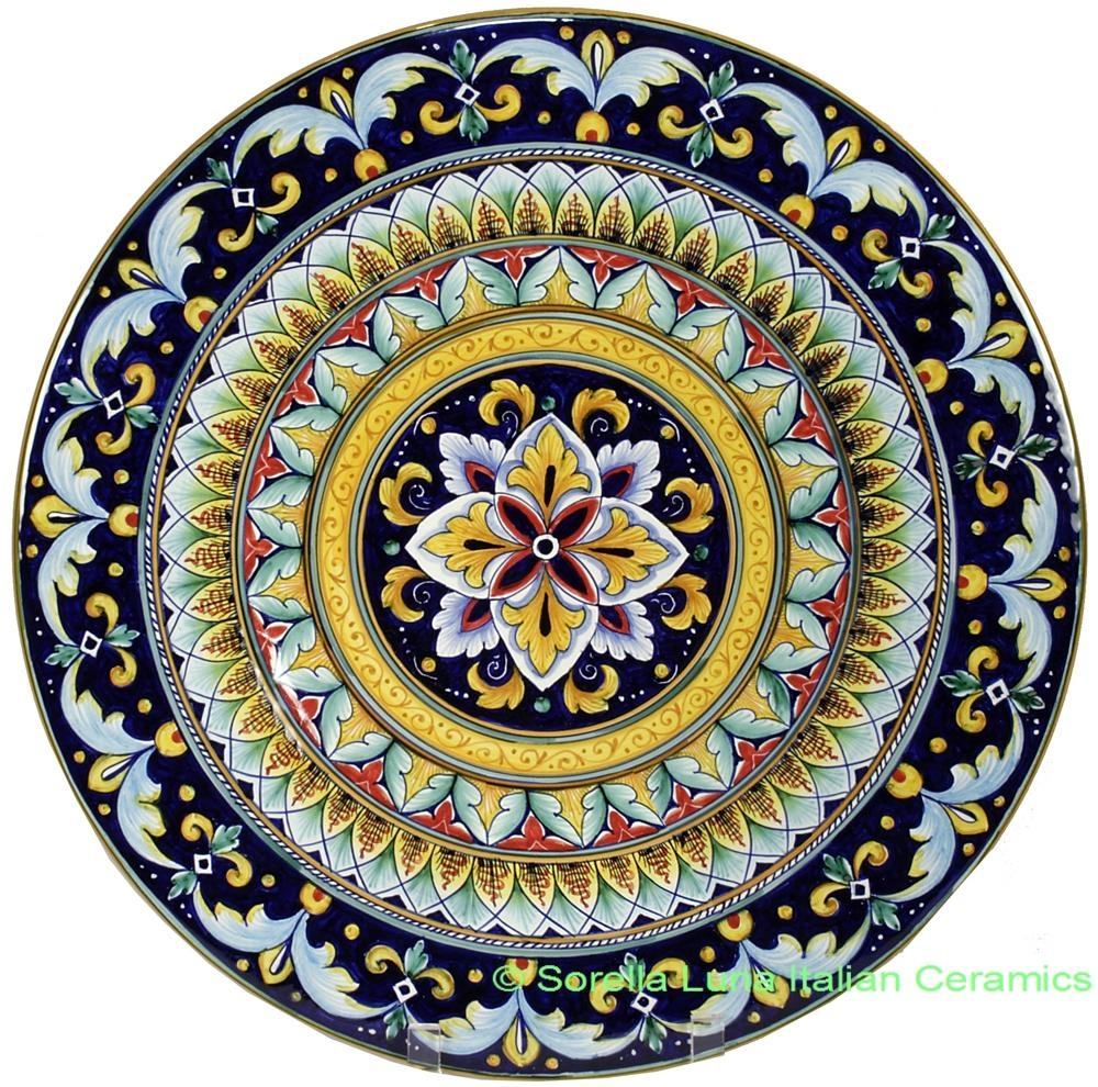 Italian Hand Painted Ceramic Majolica Plate | 42Cm Pertaining To Italian Ceramic Wall Art (Image 10 of 20)