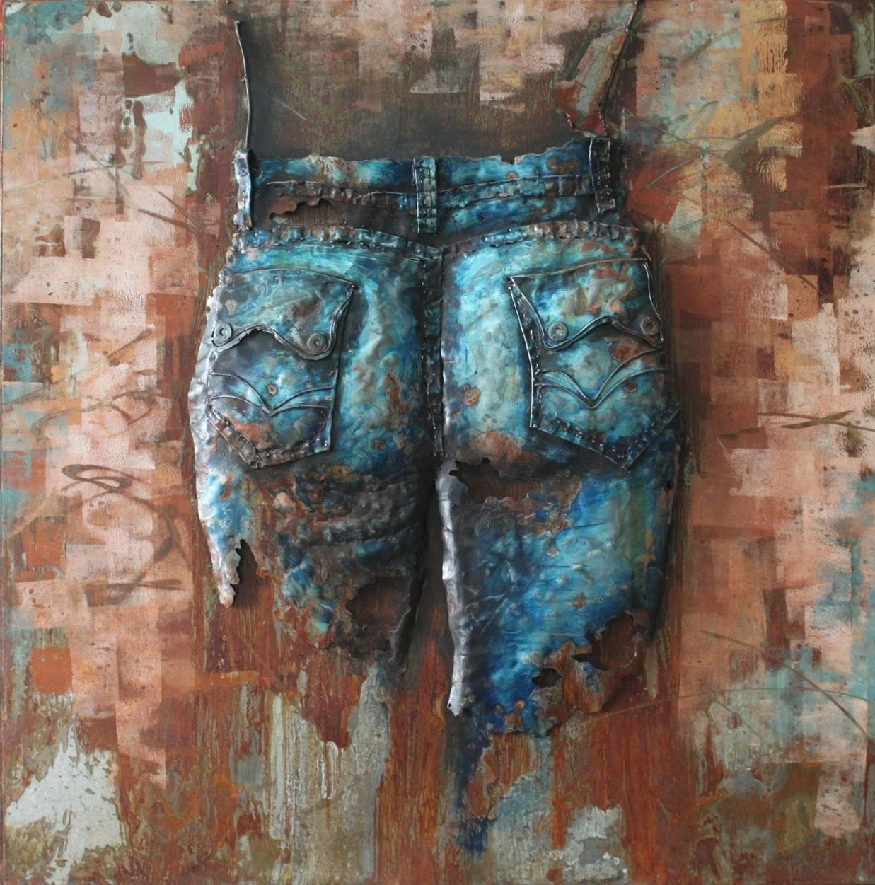 Jeans Cowgirl(Back) – 3D Metal Wall Art – Metal Wall Art With Regard To 3D Metal Wall Art (Image 8 of 20)