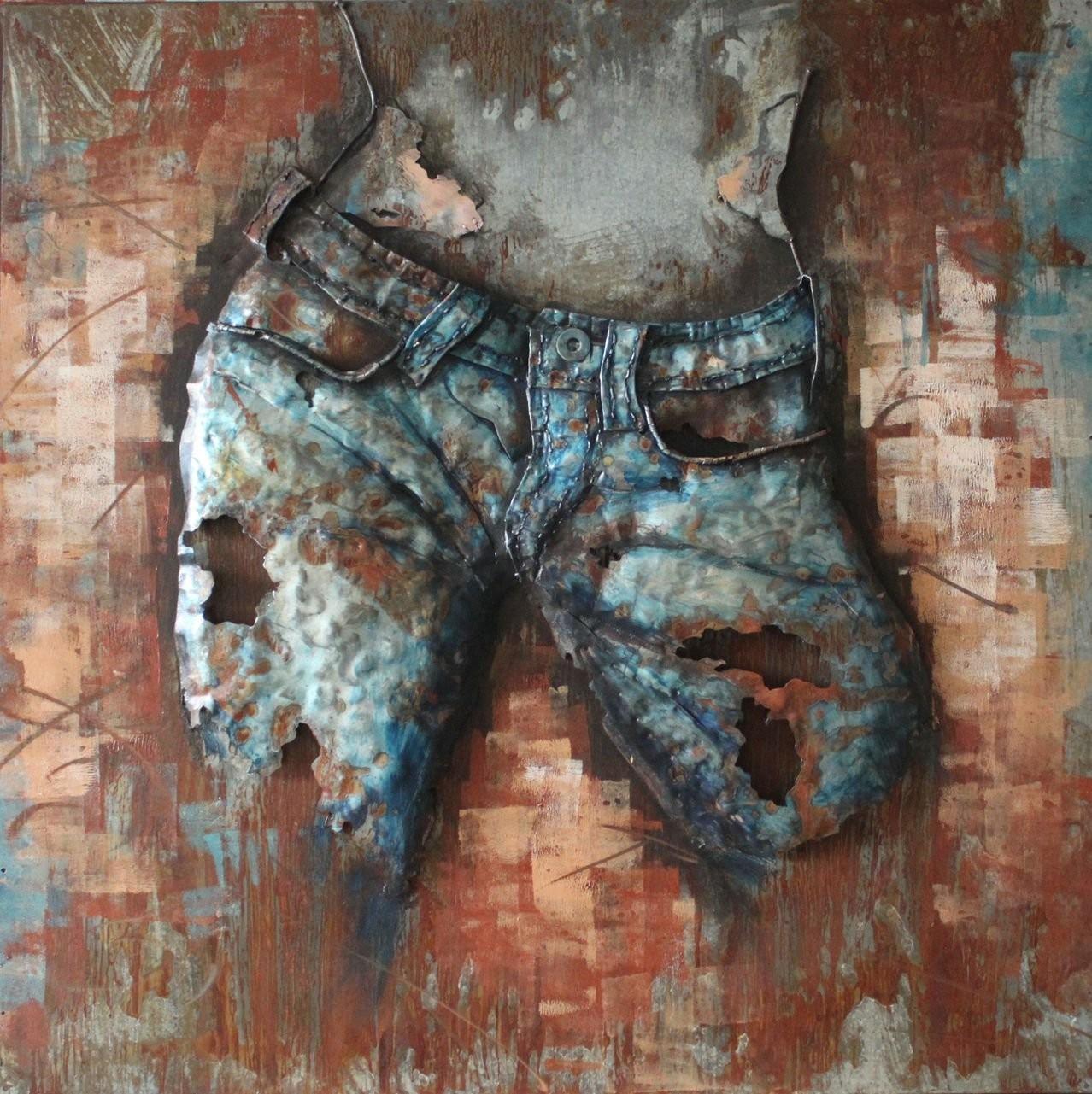 Jeans Cowgirl(Front) - 3D Metal Wall Art inside 3D Metal Wall Art
