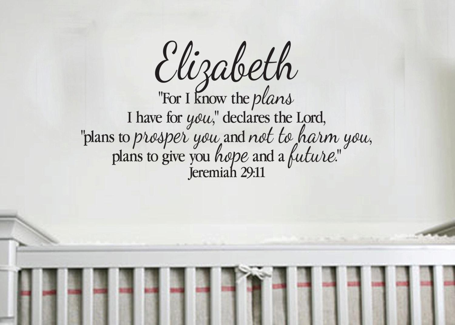 Jeremiah 29:11 Personalized Scripture Christian Religious with Nursery Bible Verses Wall Decals