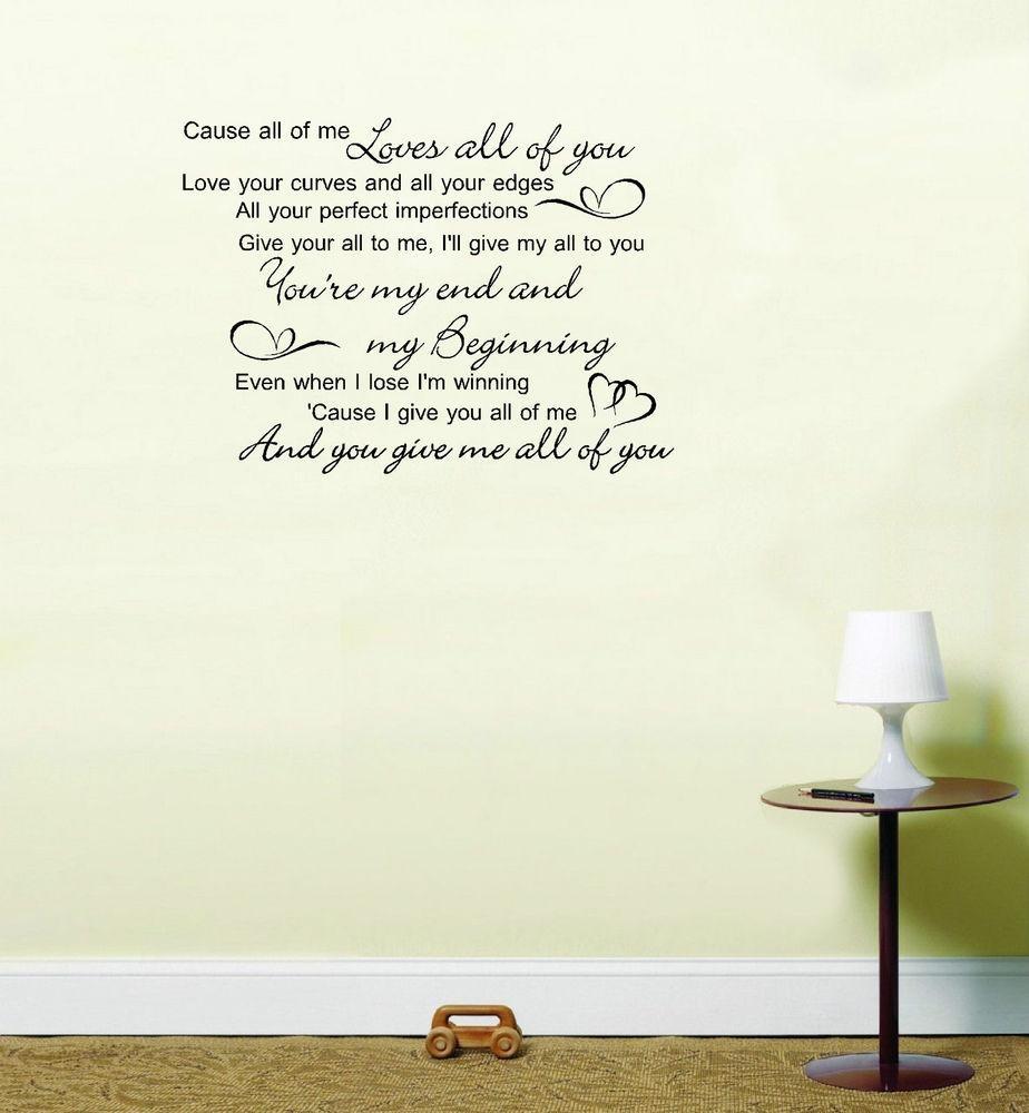 John Legend All Of Me Love Song Lyrics Quote Vinyl Sticker Wall with Music Lyrics Wall Art