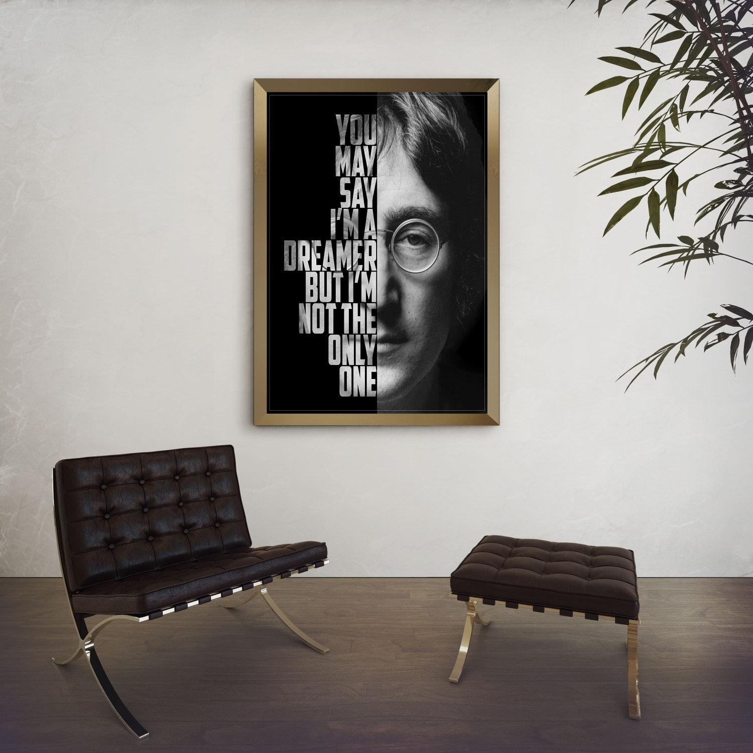 John Lennon Imagine John Lennon Poster Song Lyric Art in Music Lyrics Wall Art
