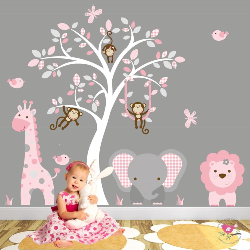 Jungle Animal Nursery Wall Art Stickers Regarding Pink And Grey Wall Art (View 18 of 20)