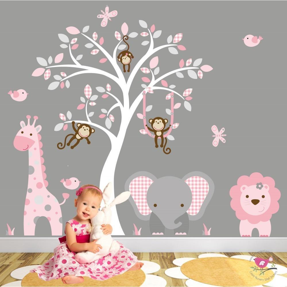Jungle Animal Nursery Wall Art Stickers regarding Pink and Grey Wall Art