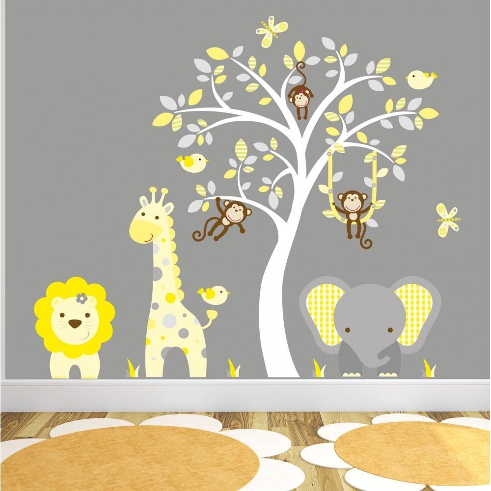 Jungle Animal Nursery Wall Art Stickers with regard to Nursery Wall Art