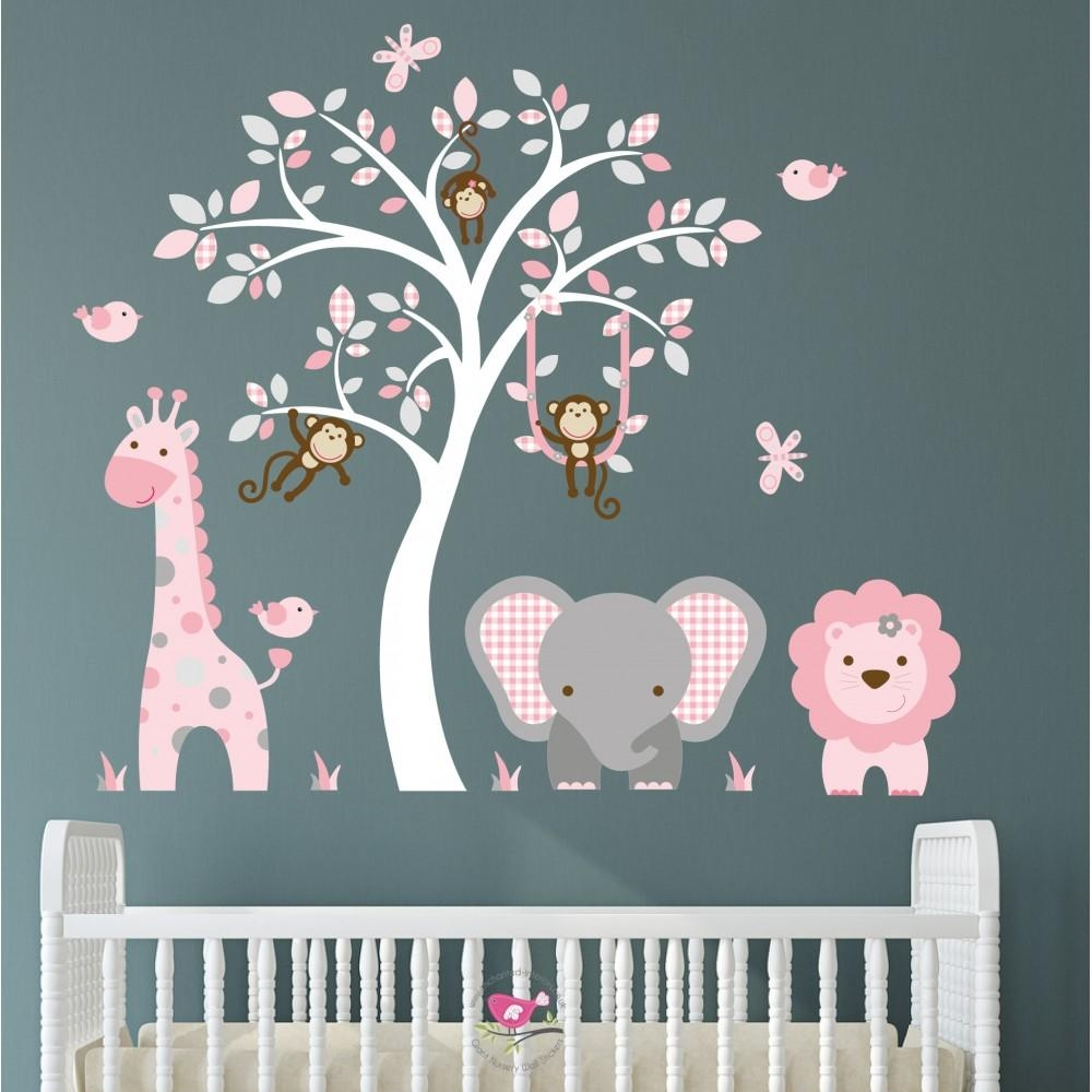 Jungle Animal Nursery Wall Art Stickers With Regard To Pink And Grey Wall Art (View 12 of 20)