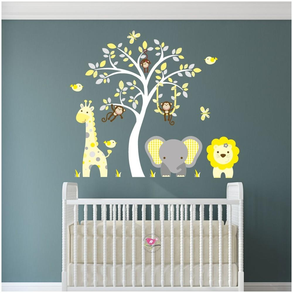 Jungle Animal Nursery Wall Art Stickers Within Nursery Wall Art (View 2 of 20)
