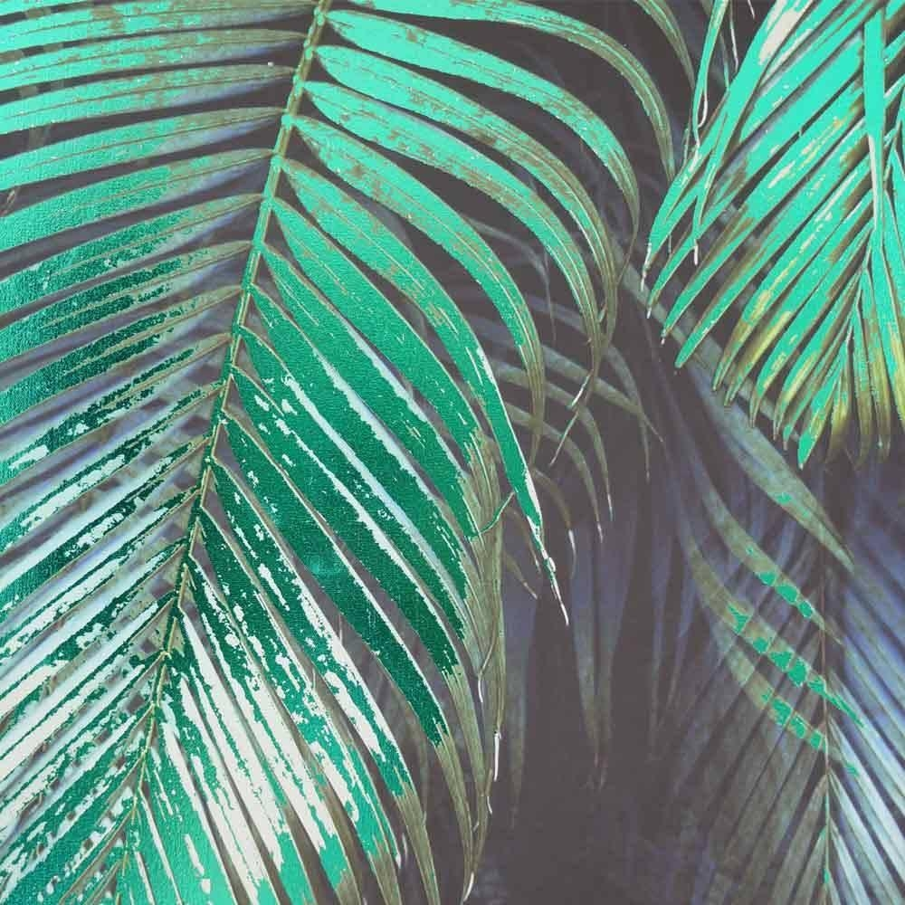 Jungle Palm Wall Art | Green Nature Canvas in Blue And Green Wall Art