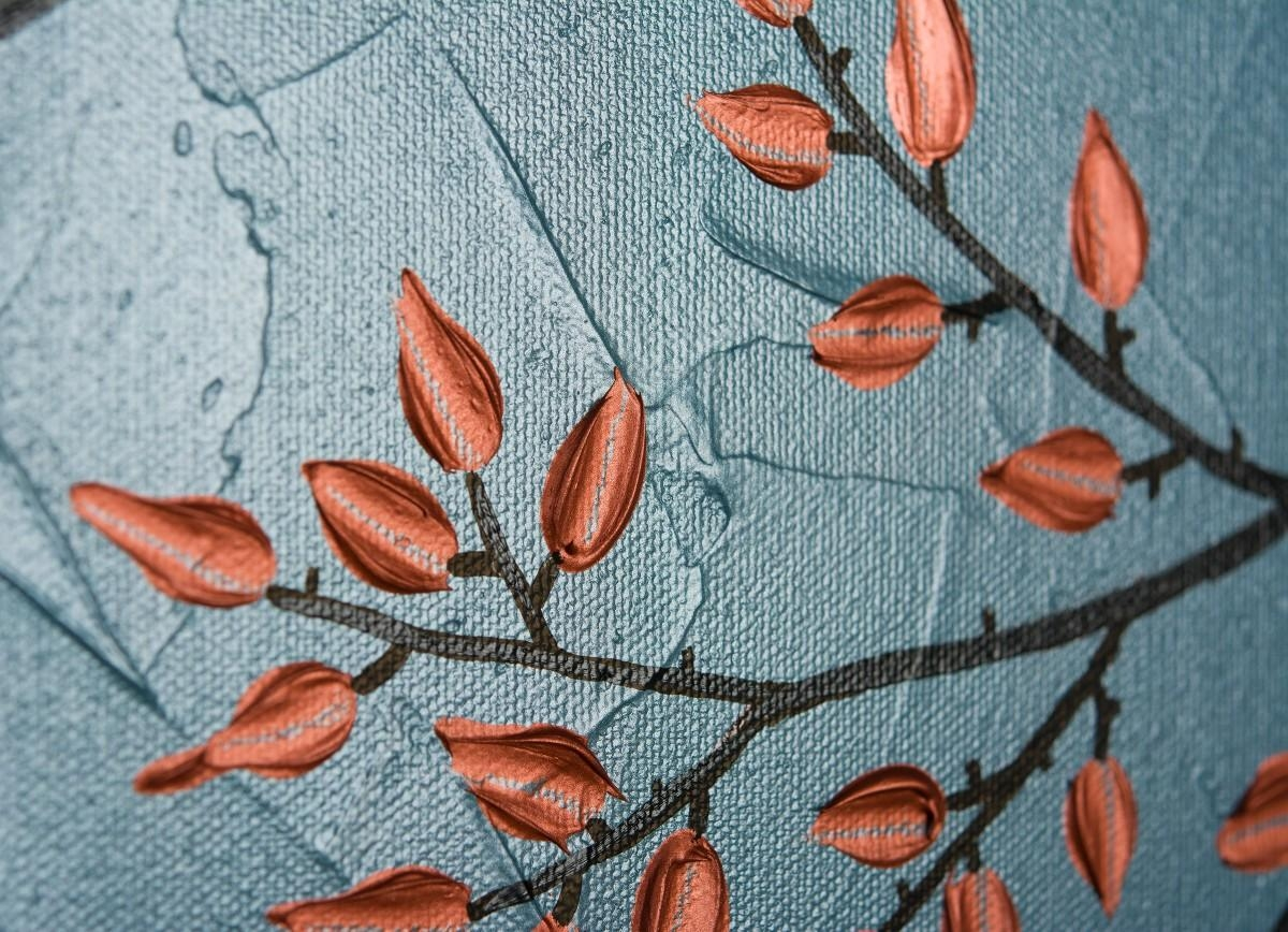 """Just Usqiqigallery 48"""" X 24"""" Large Abstract Copper Painting regarding Large Copper Wall Art"""