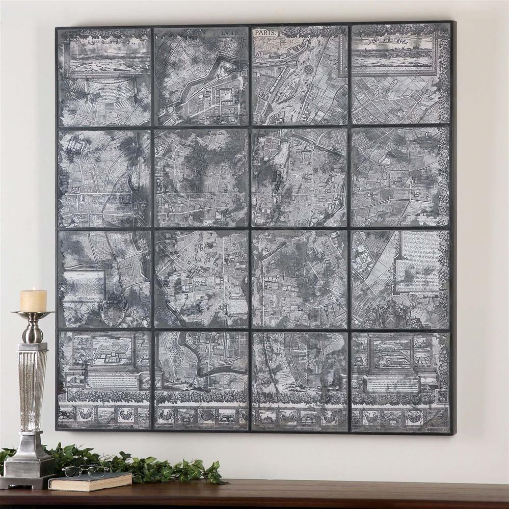 Kase Industrial Loft Dark Antique Mirror Parisian Map Wall Art inside Map Wall Art