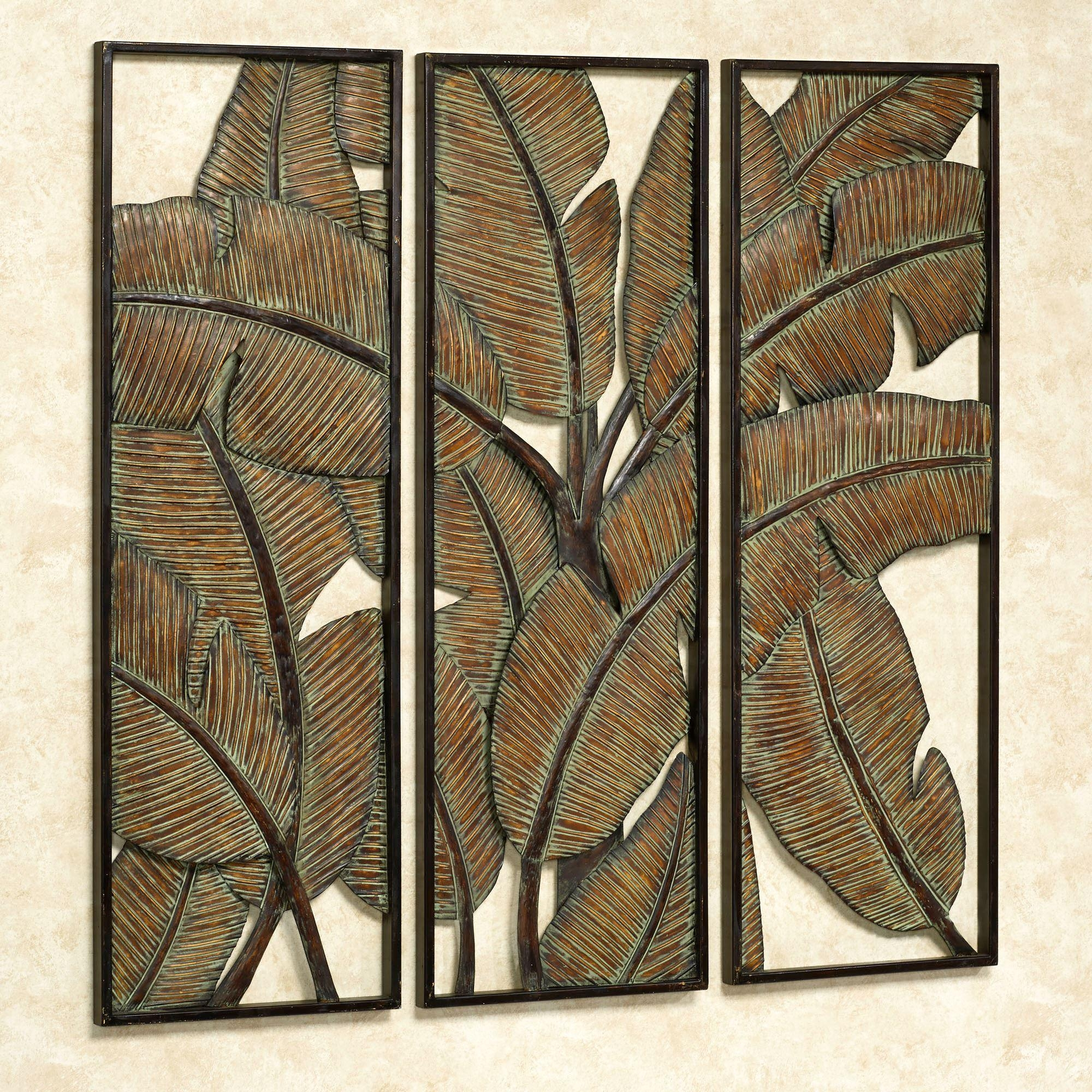 Kaylani Tropical Leaf Metal Wall Art Panel Set Regarding Three Panel Wall Art (Image 11 of 20)