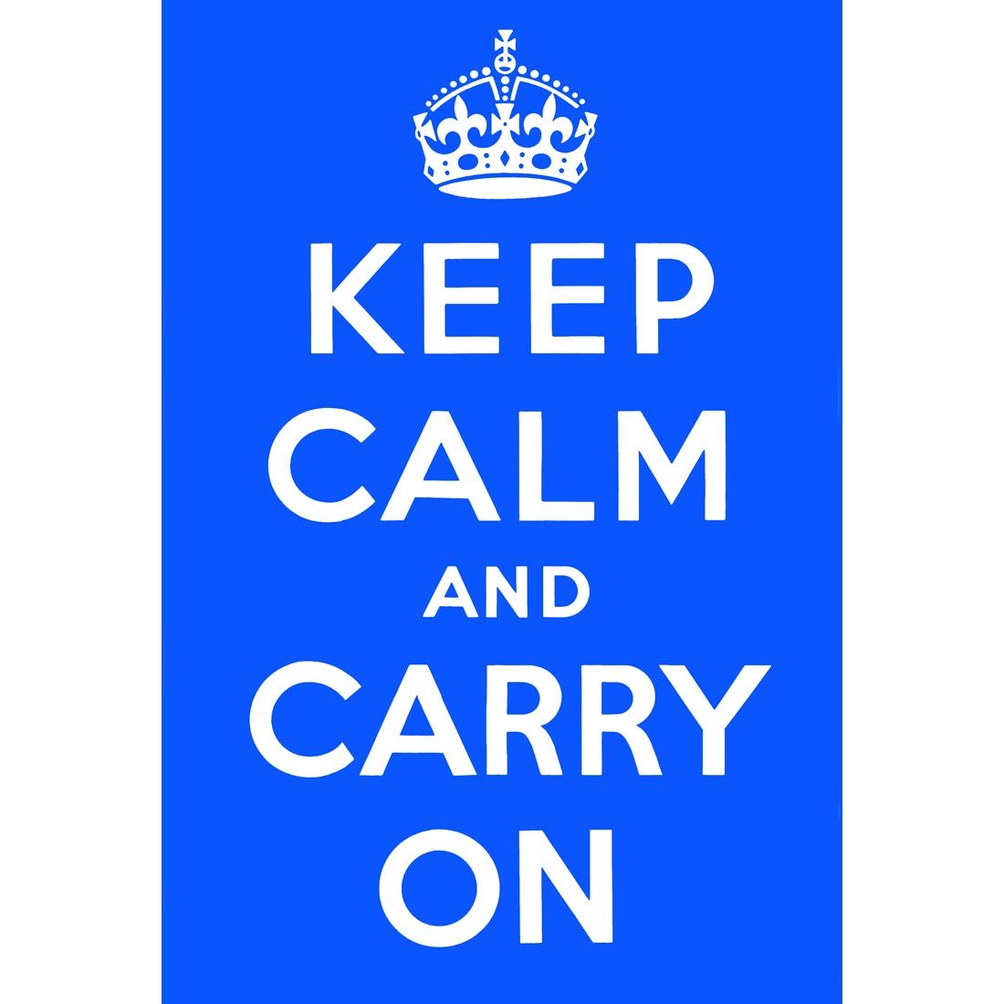 Keep Calm And Carry On, Blue – Canvas Print – Wall Art – Australia Intended For Keep Calm And Carry On Wall Art (View 14 of 20)