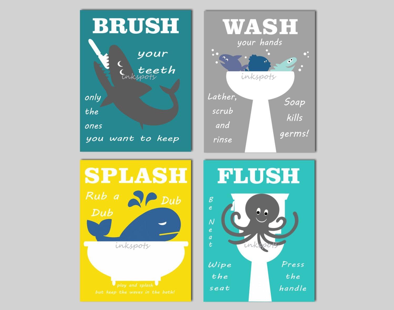 Kids Bathroom Prints Kids Bath Wall Art Bathroom Rules Regarding Kids Bathroom Wall Art (Image 18 of 20)