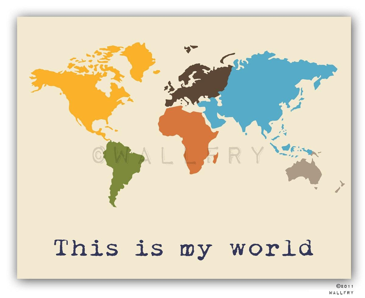 Kids Wall Art. World Map Print Childrens Wall Art (View 10 of 20)