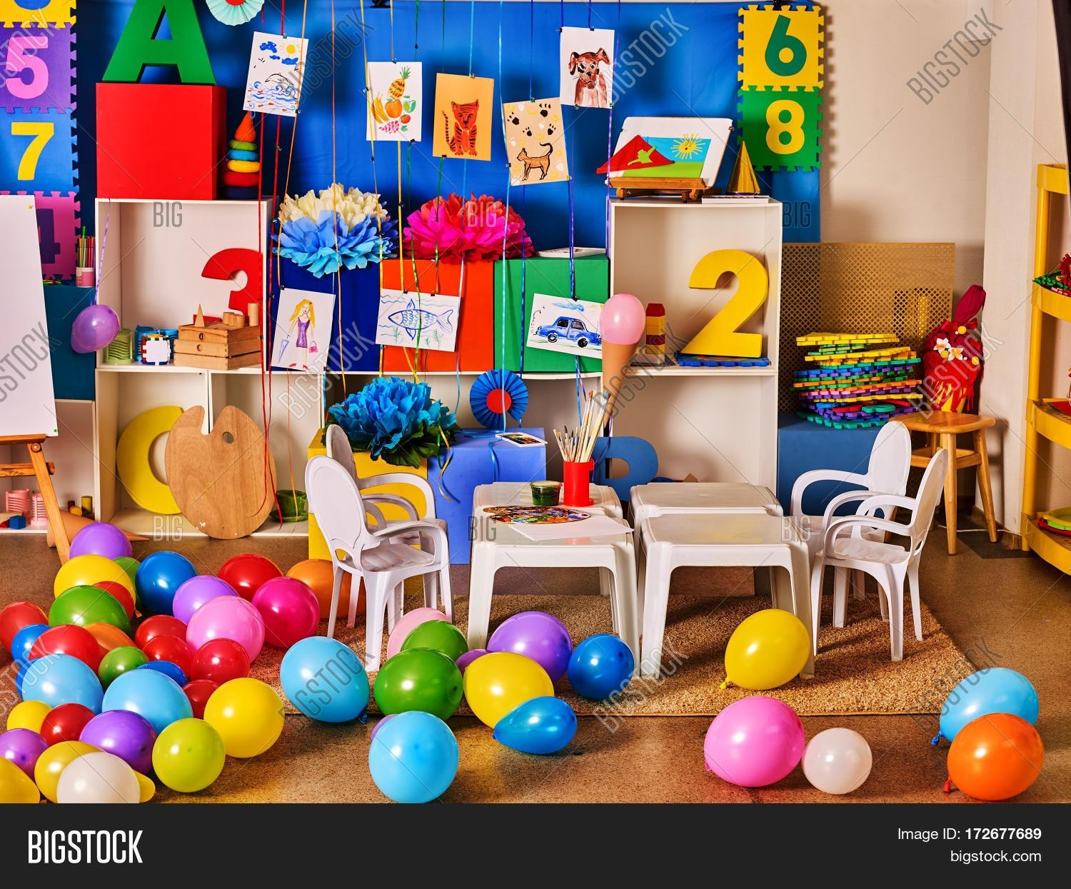 Kindergarten Interior Decoration Child Picture On Wall (Image 11 of 20)