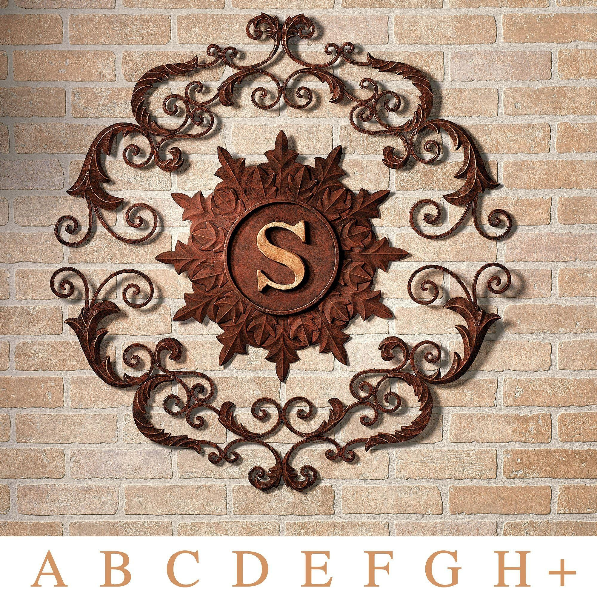 Kingston Monogram Metal Wall Grille Within Large Metal Wall Art For Outdoor (Image 9 of 20)
