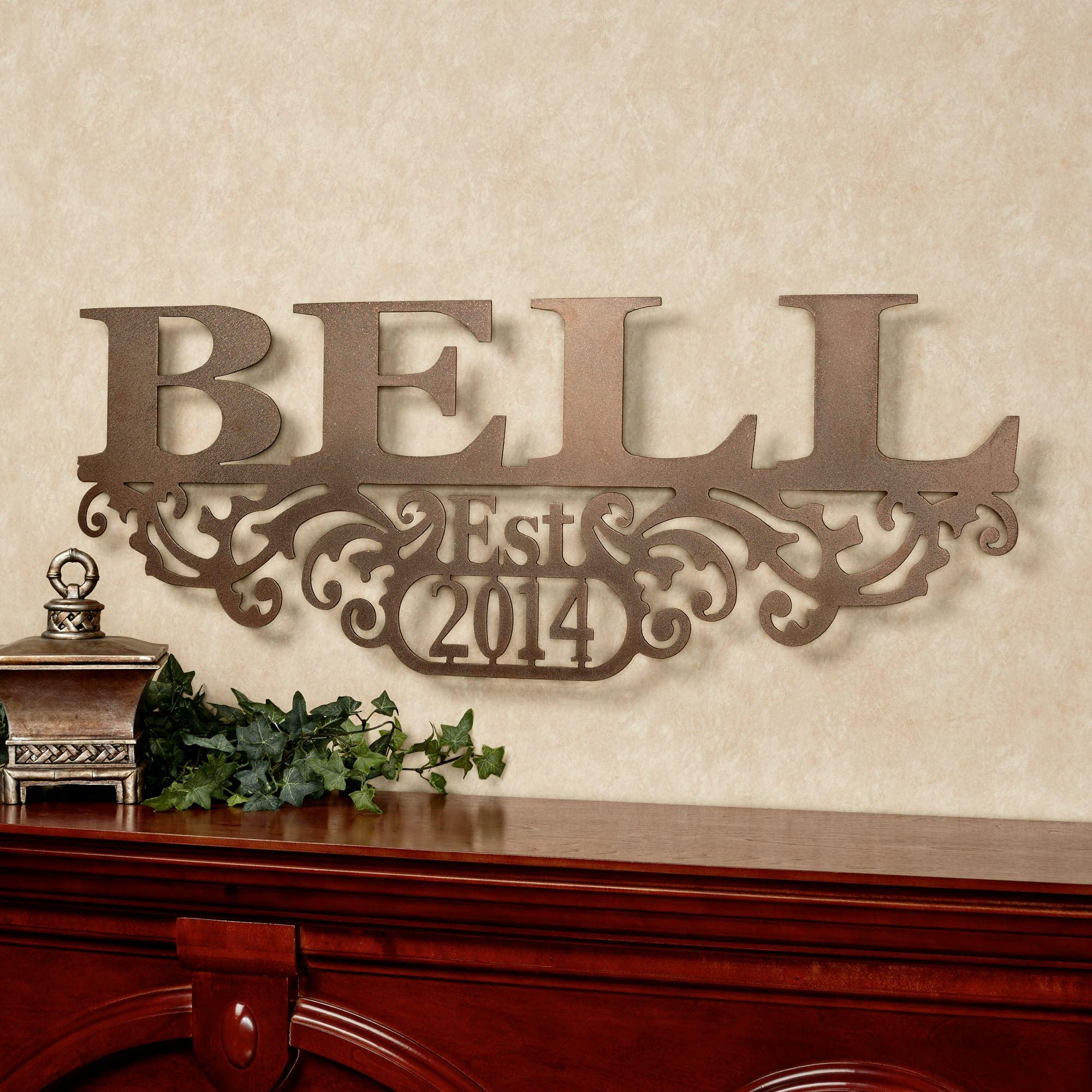 Kinship Bronze Family Name And Year Personalized Metal Wall Art Sign Regarding Personalized Wall Art With Names (Image 2 of 20)