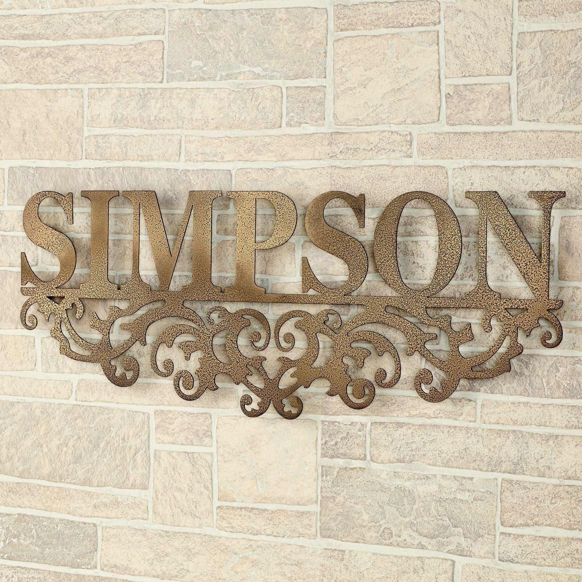 Kinship Gold Family Name Personalized Metal Wall Art Sign Pertaining To Last Name Wall Art (Image 9 of 20)