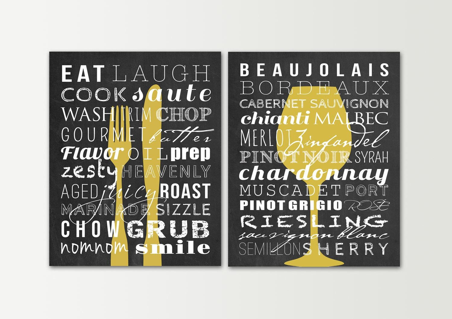 Kitchen Decor Kitchen Signs Set Dining Room Wall Art With Regard To Kitchen Wall Art Sets (Image 4 of 20)