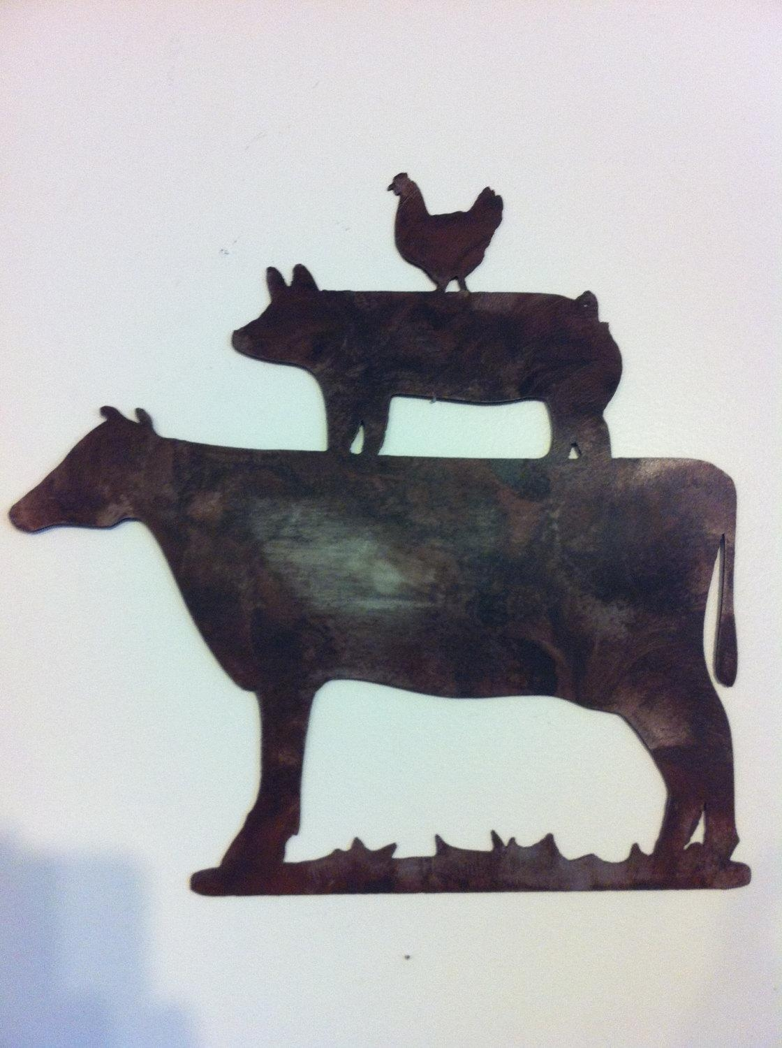 Kitchen Decor Metal Farm Animals Chicken Pig Cow Metal Wall Within Country Metal Wall Art (Image 12 of 20)