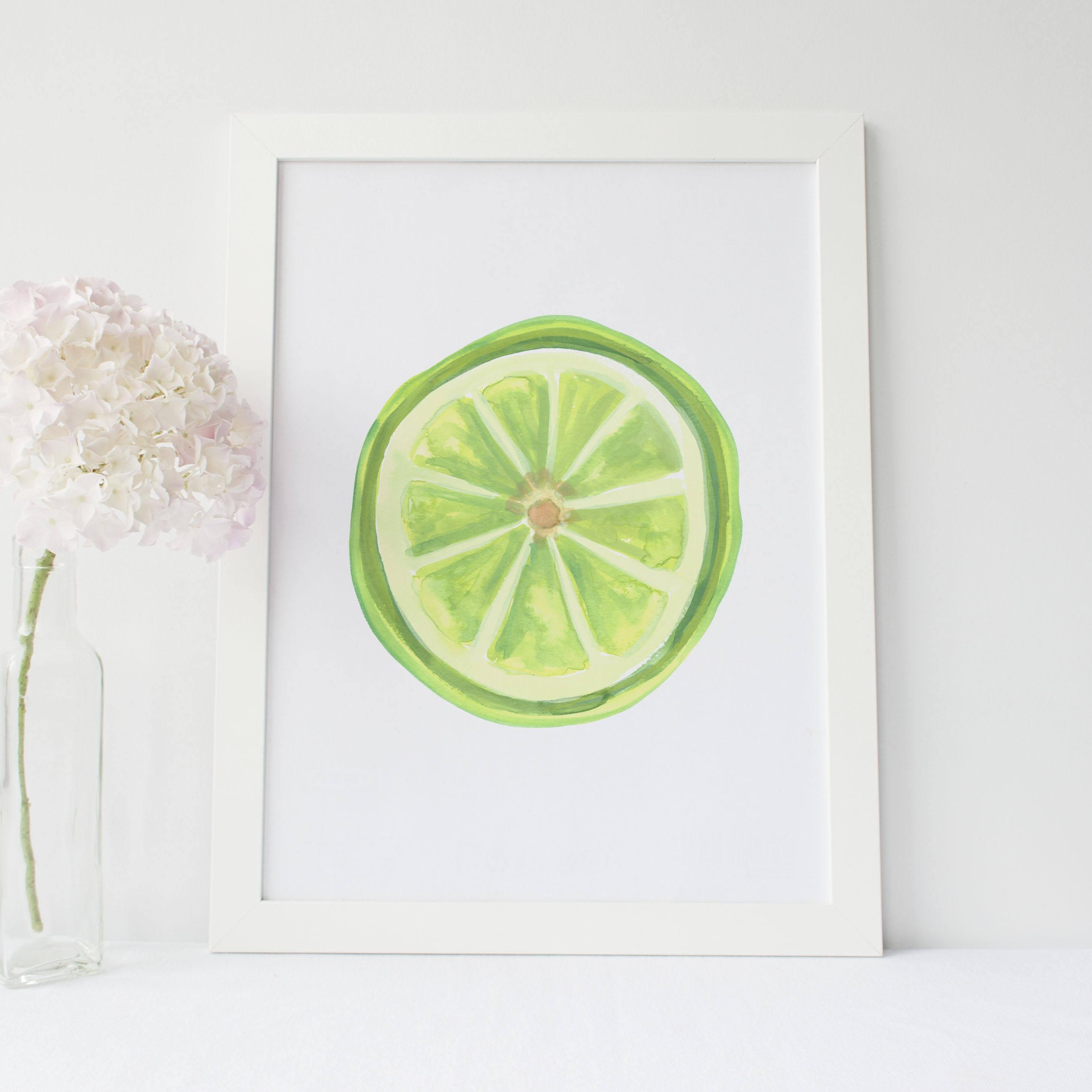 Kitchen Wall Art Fruit Poster Art Fruit Kitchen Decor With Lime Green Wall Art (Image 17 of 20)