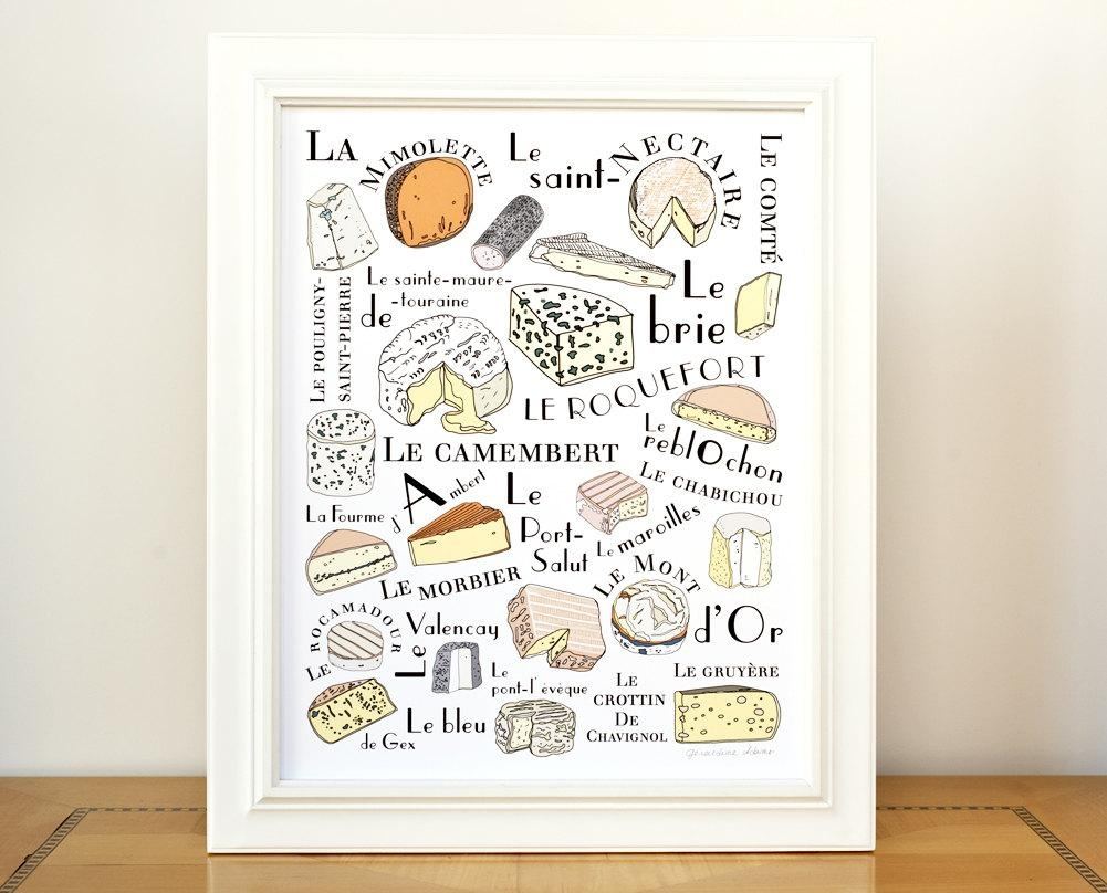 Kitchen Wall Art Print 'french Cheeses' Art For Pertaining To Kitchen Wall Art (View 4 of 20)