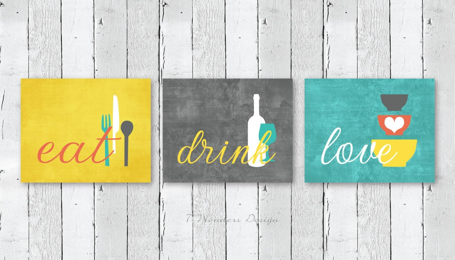 Kitchen Wall Art Print Set Eat Drink Love Mustard Yellow For Cucina Wall Art Decors (Image 13 of 20)