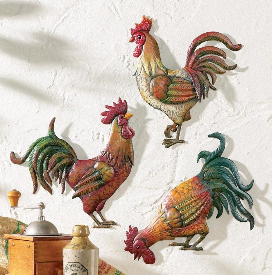 Kitchen : Wonderful Country Kitchen Wall Decor Ideas With Country Intended For Metal Rooster Wall Decor (View 6 of 20)